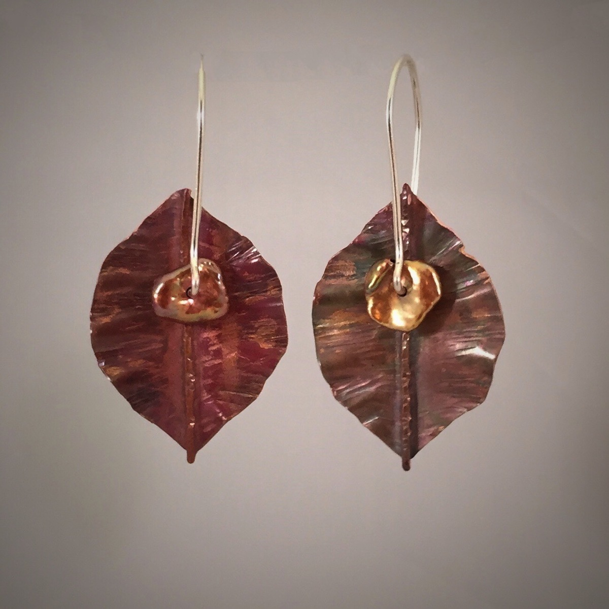 Copper Silver Pearl Leaf Earrings (large view)