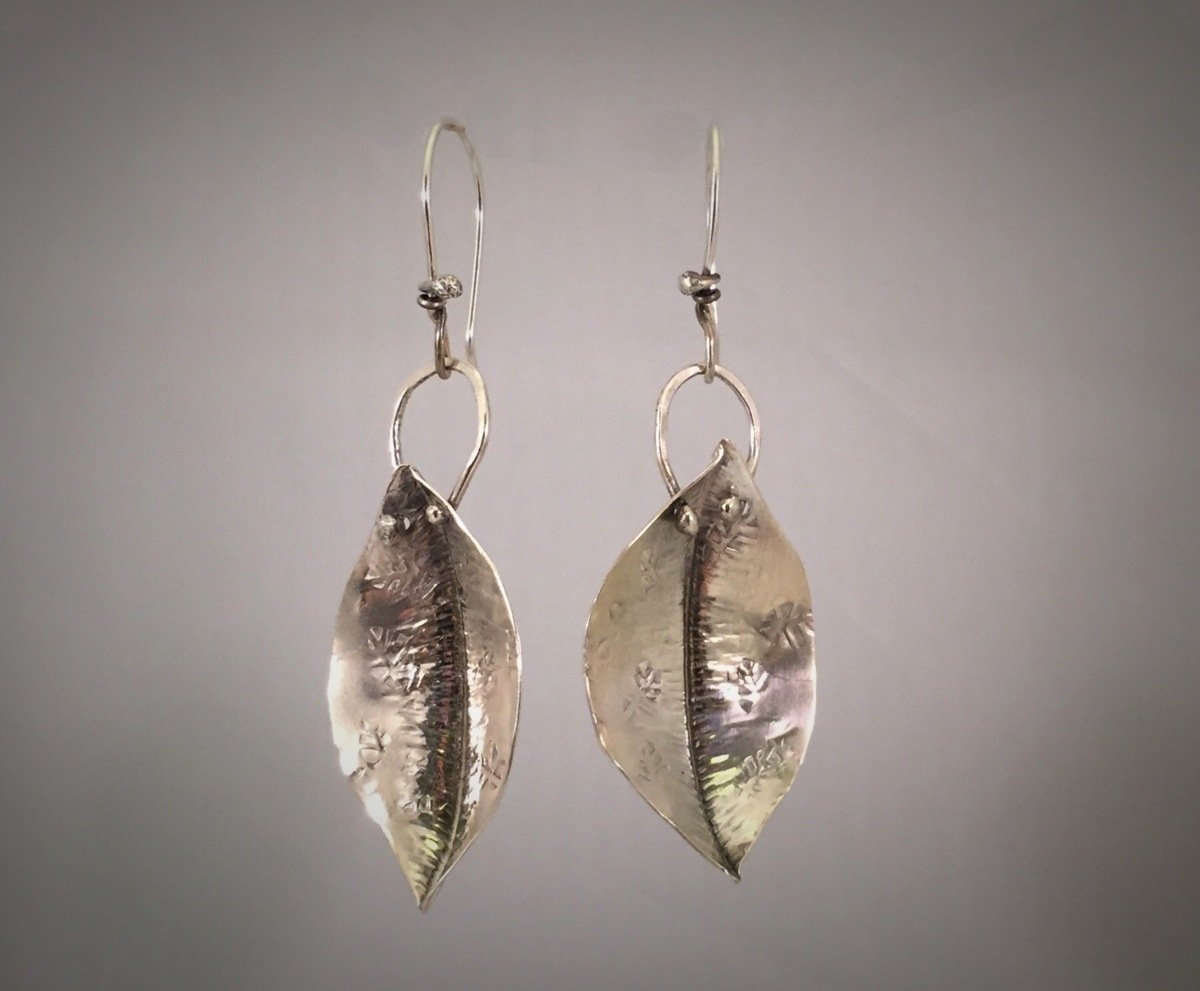 Sterling Silver Fold Formed Leaf Boat Earrings (large view)