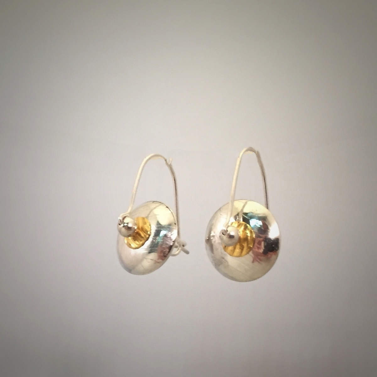 Gold & Silver Lentil Bead Clasp Earrings (large view)