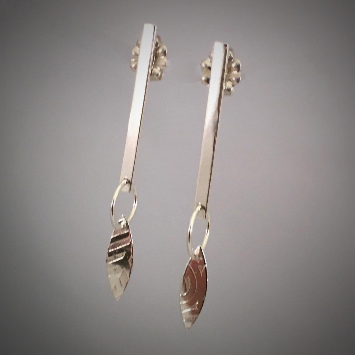 Silver Elegance Leaf Drop Post Earrings (large view)