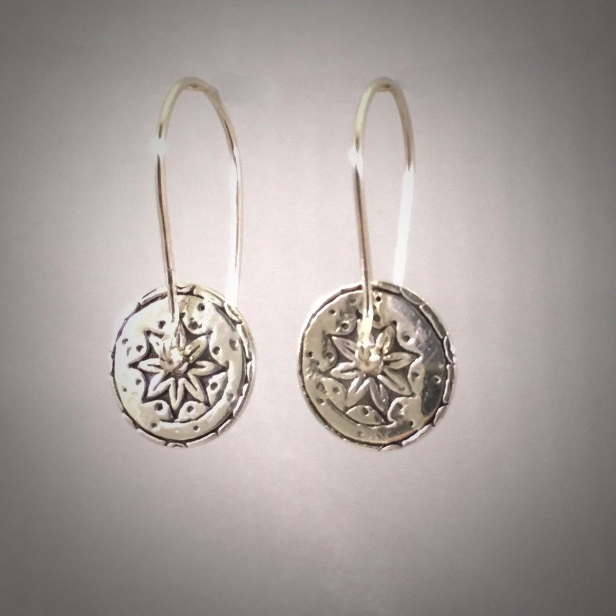 Silver Flower Circle Drop Earrings (large view)