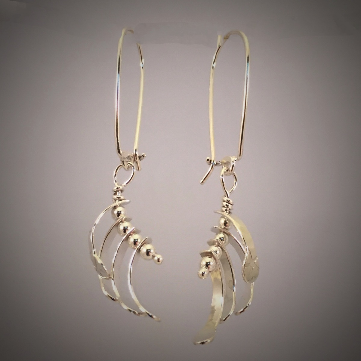 Kinetic Silver Curved Whirligig Earrings  (large view)