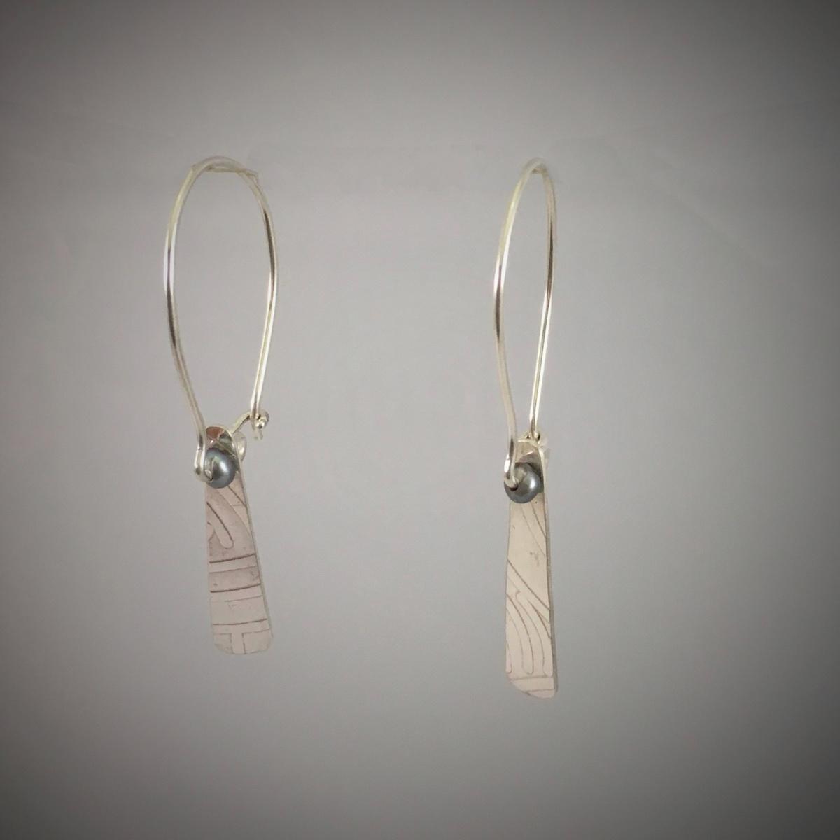 Silver Tie Earrings (large view)