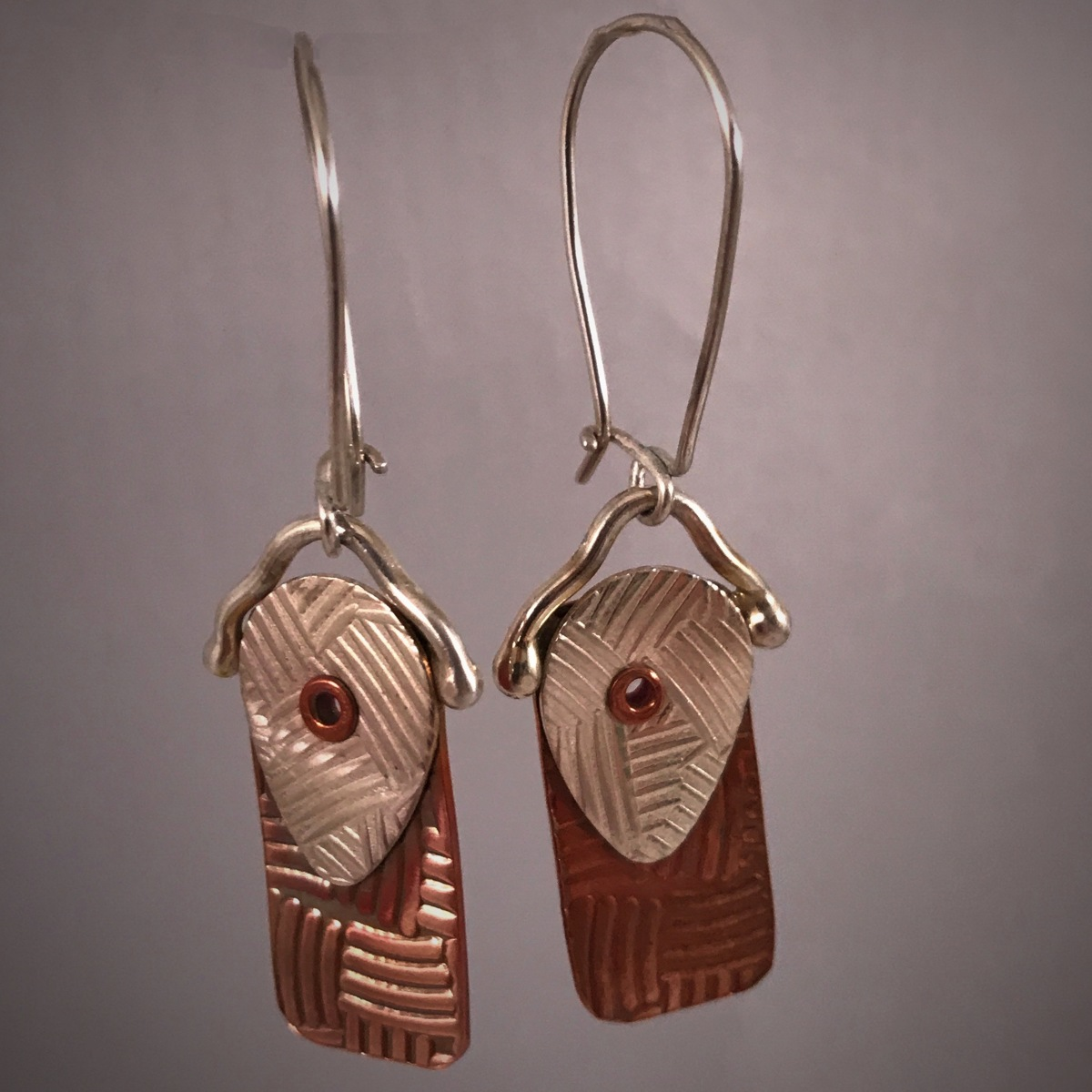 Patterned Copper Silver Riveted Recs (large view)
