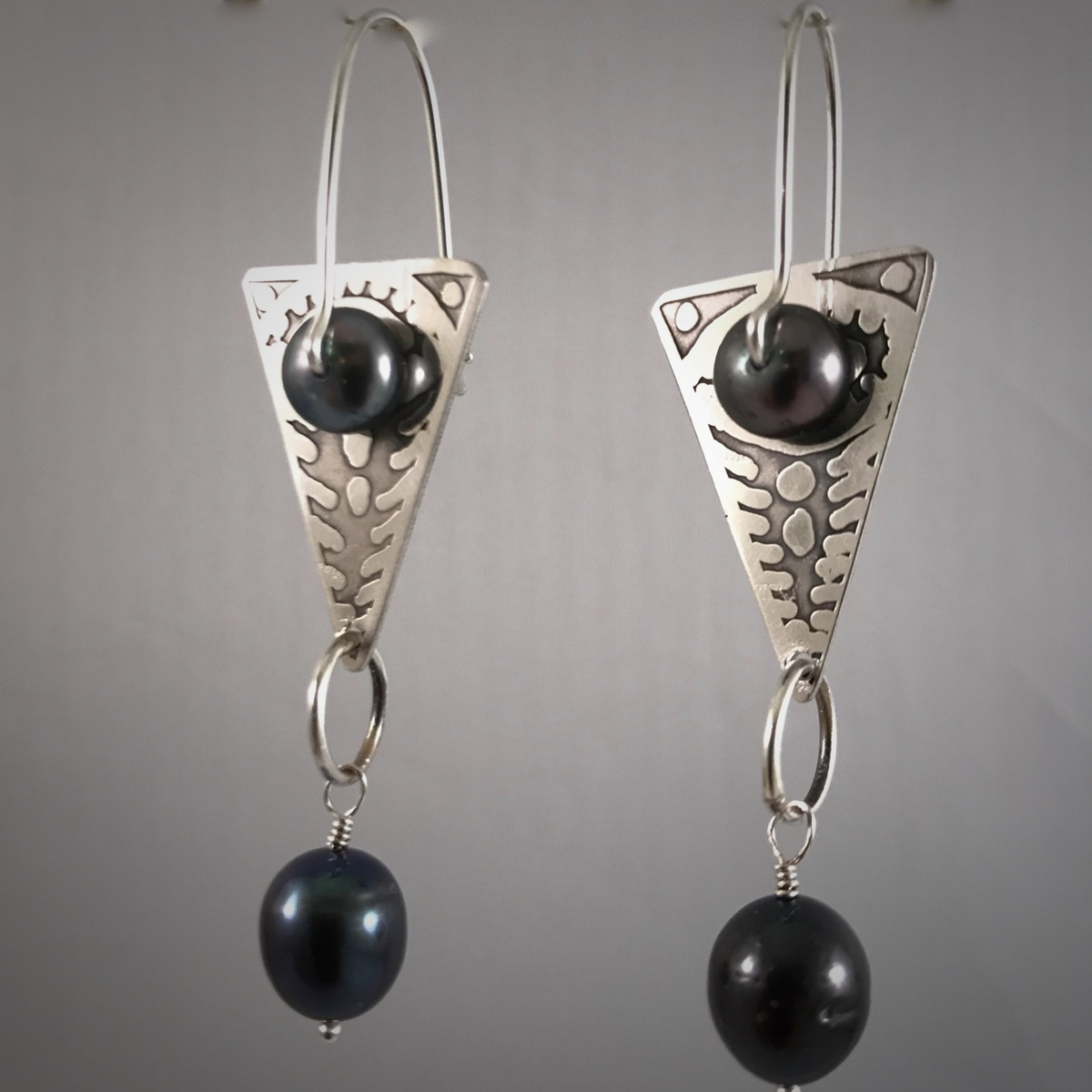Kinetic Etched Silver Earrings Series #2 (large view)