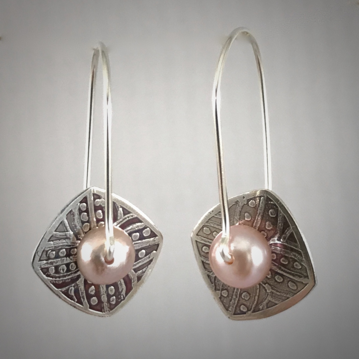 Kinetic Etched Silver Earrings Series #5 (large view)