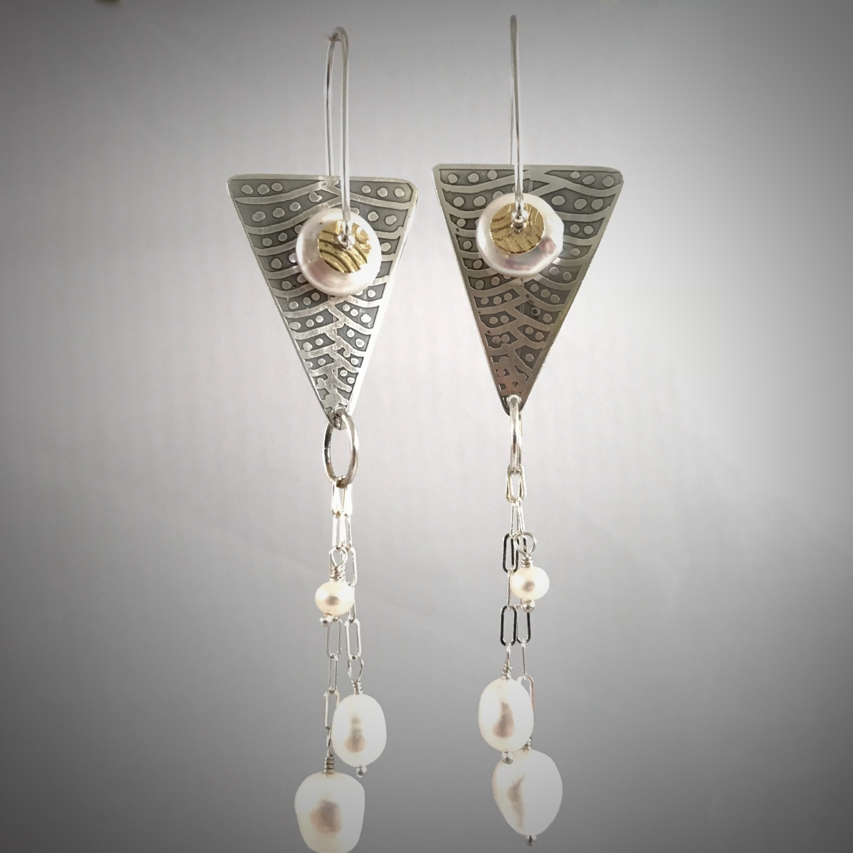 Kinetic Etched Silver Earrings Series #3 (large view)