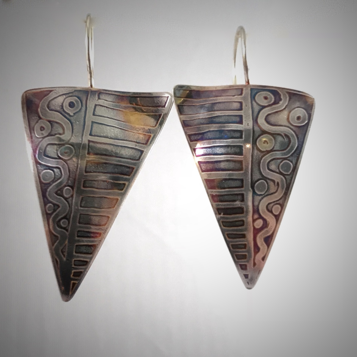Etched Tribal Earrings (large view)