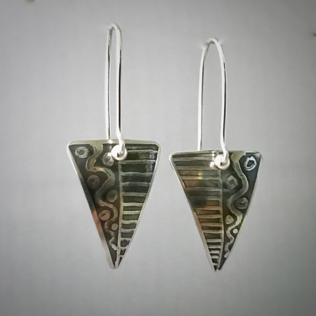 Kinetic Etched Silver Earrings Series #1  (large view)