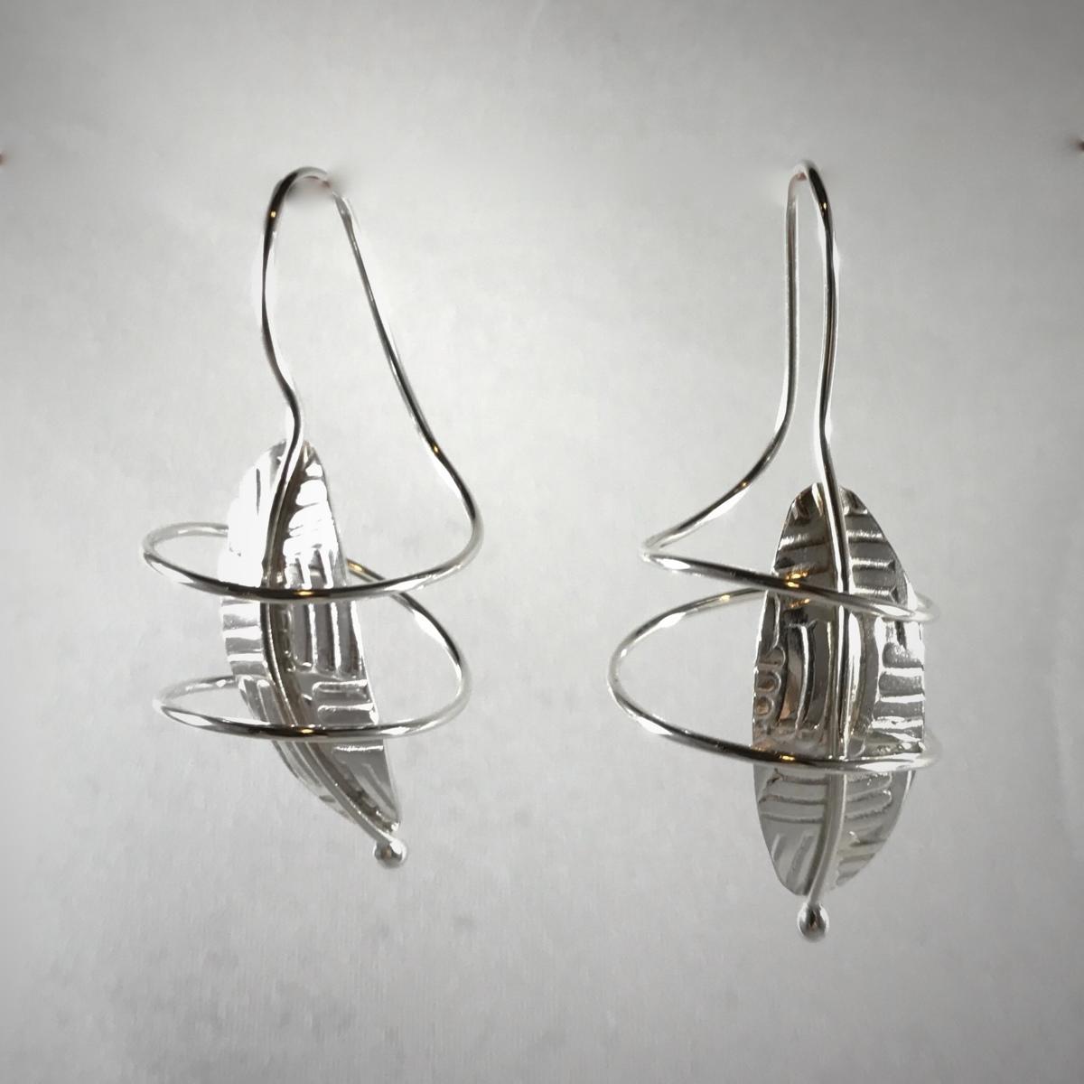 Silver Leaf Swirl Earrings (large view)