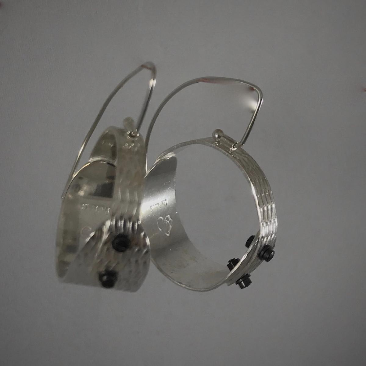 Textured Riveted Silver Hoop Earrings (large view)