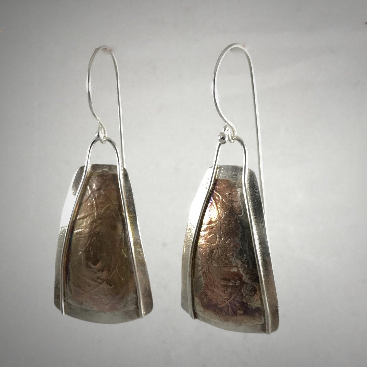 Silver Copper Patterned Trapezoid Earrings (large view)