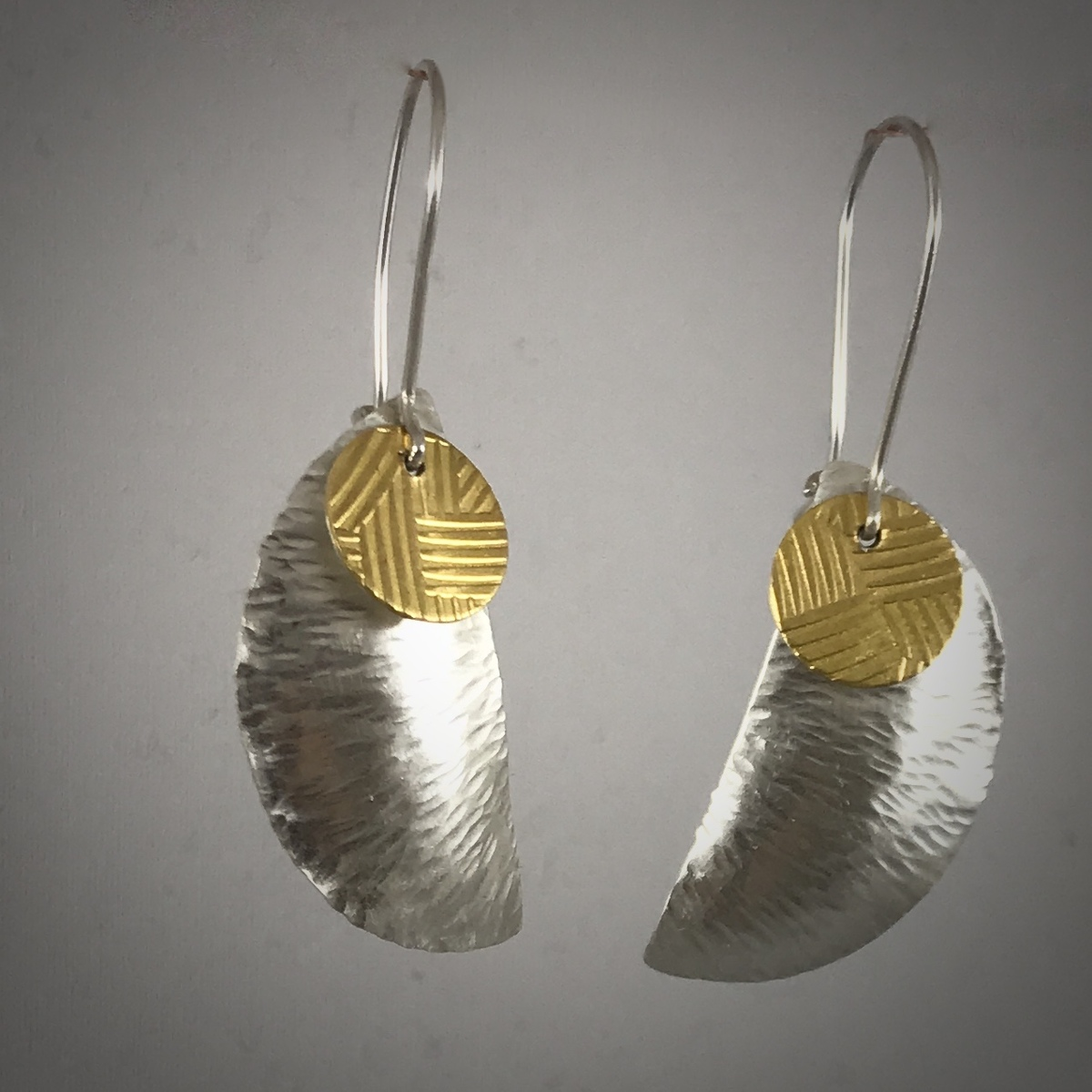 Kinetic Silver & Gold Half Moon Earrings (large view)