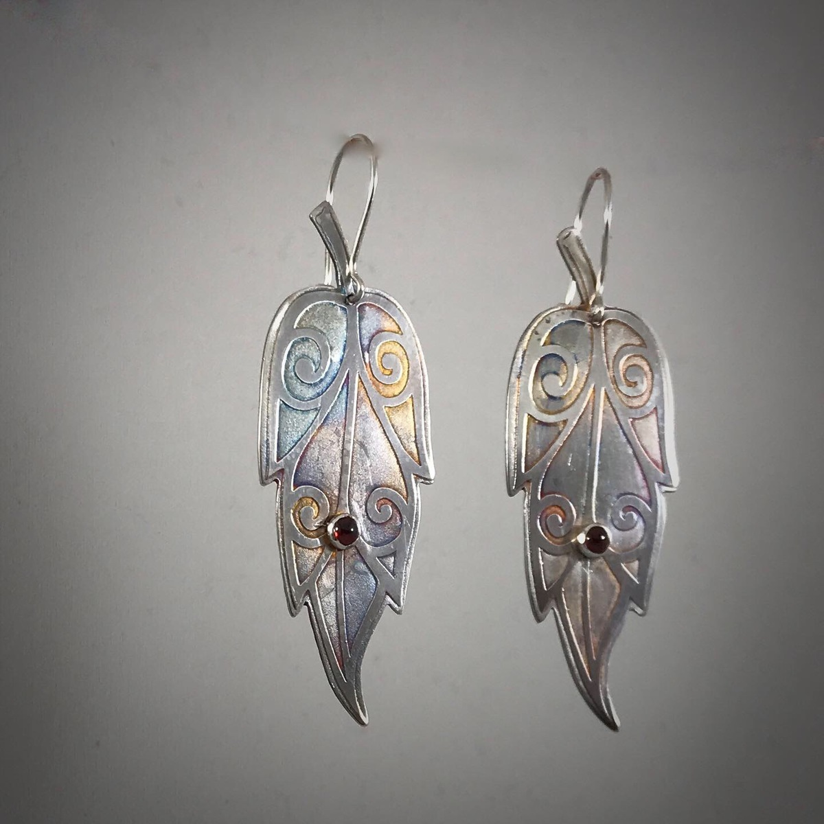 Silver Etched Leaf Cut Out Earrings (large view)