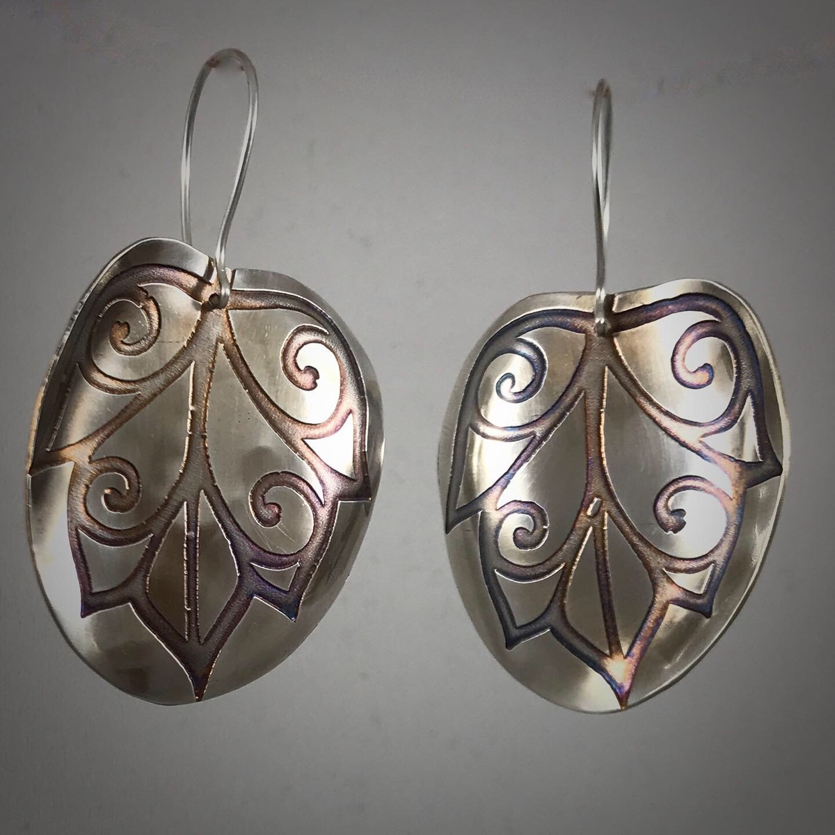 Large Silver Etched Leaf Earrings #2 (large view)