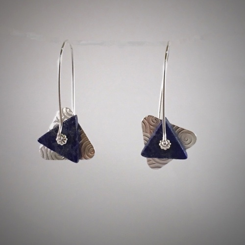 Lapis Silver Triangle Clasp Earrings (large view)