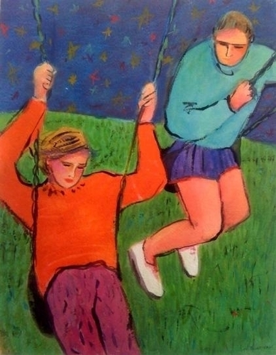 Two Figures on Swings