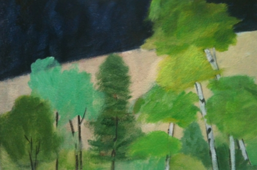 Birch Grove with Navy Sky