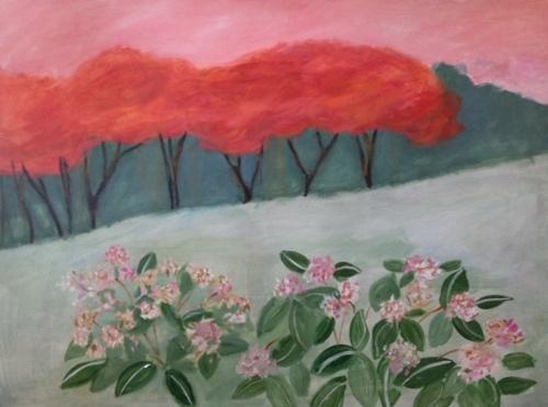 Sunset and Hydrangeas