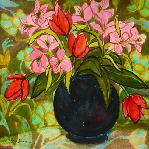 Red Tulips in Black Vase