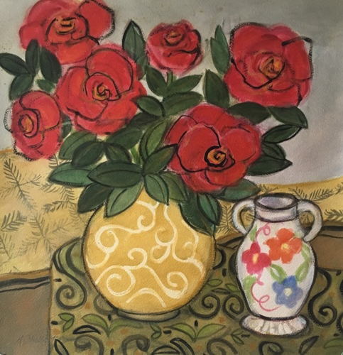 Lacey Vase with Roses