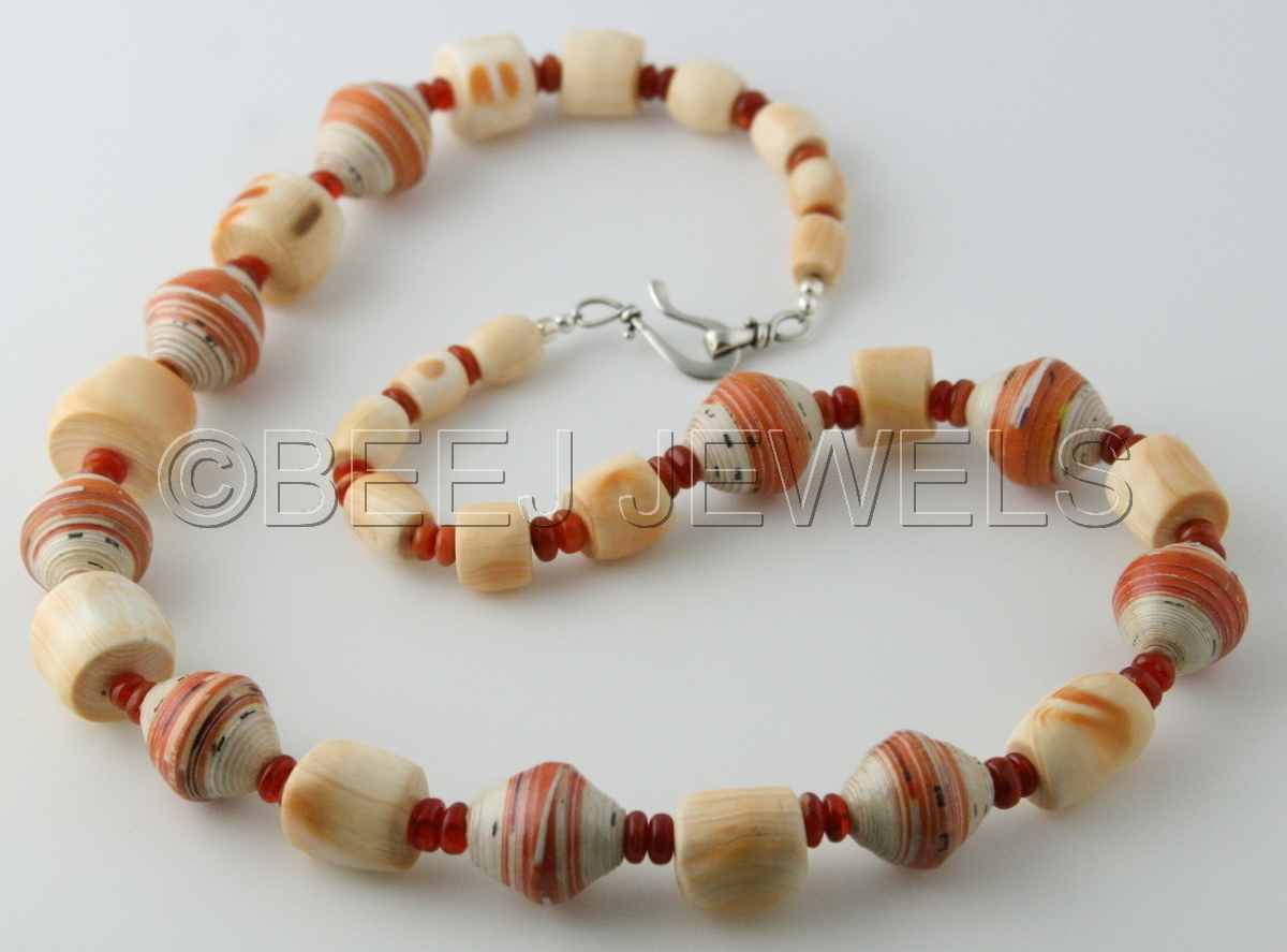 Mexican Fire Opal Coral Necklace - BAHAM (large view)