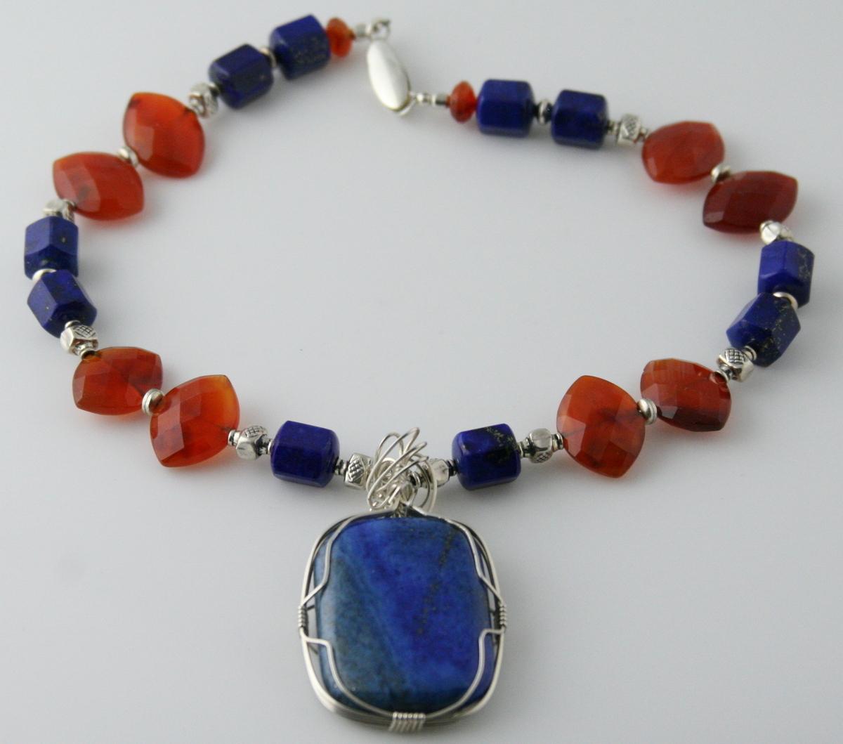 Blue Lapis & Orange Carnelian Pendant Necklace - AZMIDISKE (large view)