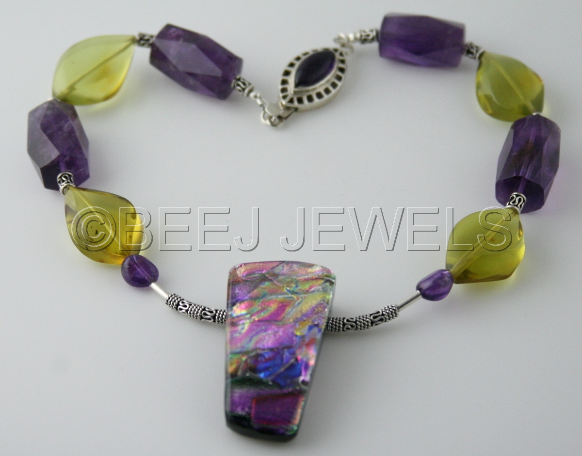 Dichroic Glass Pendate with Purple Amethyst & Green Amber Necklace - BELLATRIX (large view)