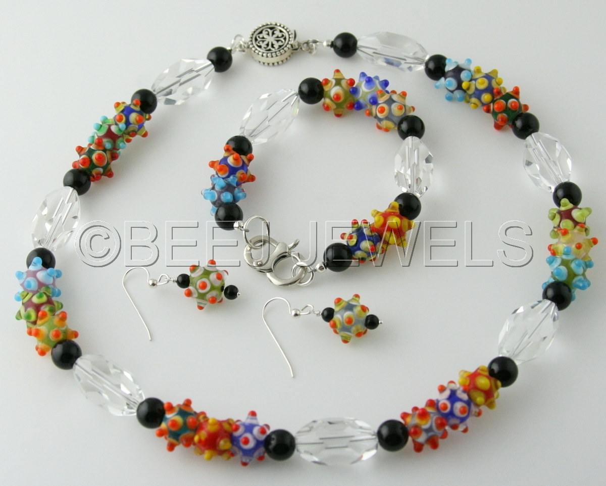 Colorful Bumpy Glass Bead Necklace Set - CAPELLA (large view)