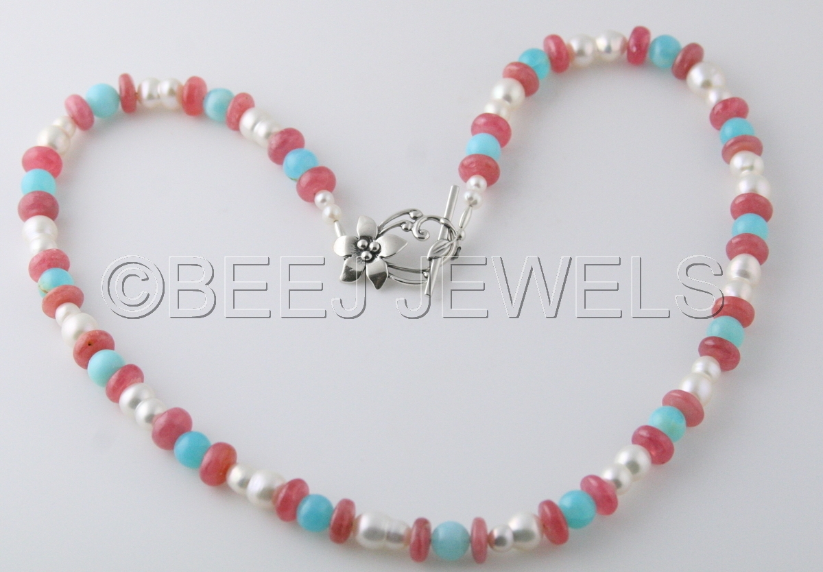 Blue Opal Pearl Rhodochrosite Necklace - CHORT (large view)
