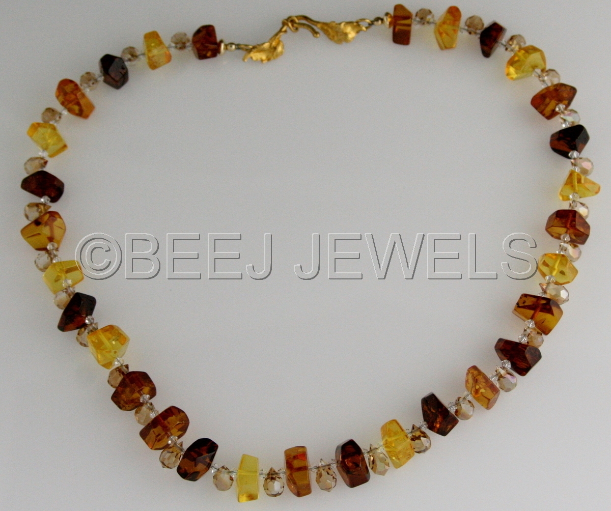 Baltic Amber Bohemian Crystal Necklace - ANCHA (large view)