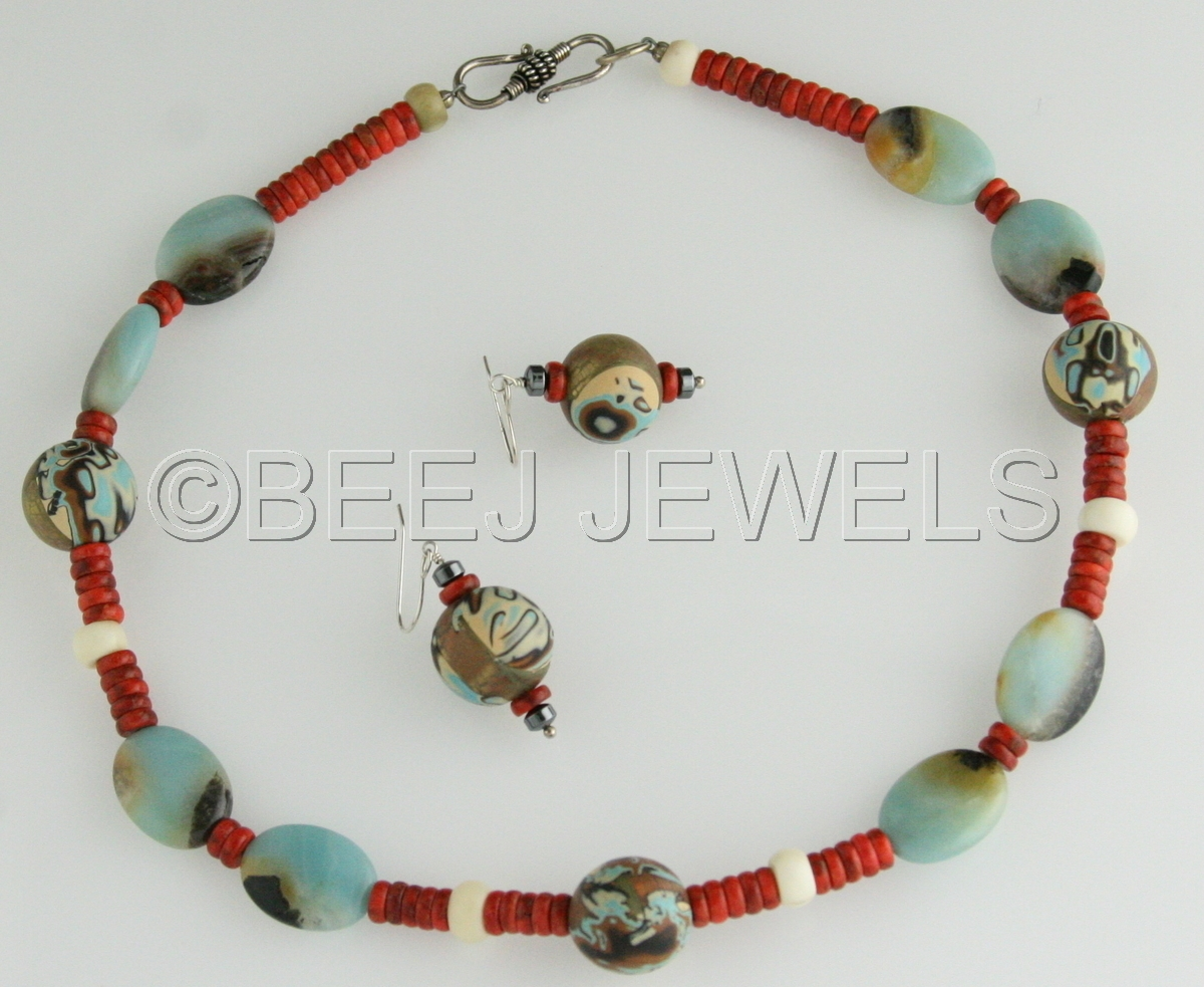 Red Coral Amazonite Clay Bead Necklace - ALNILAM (large view)