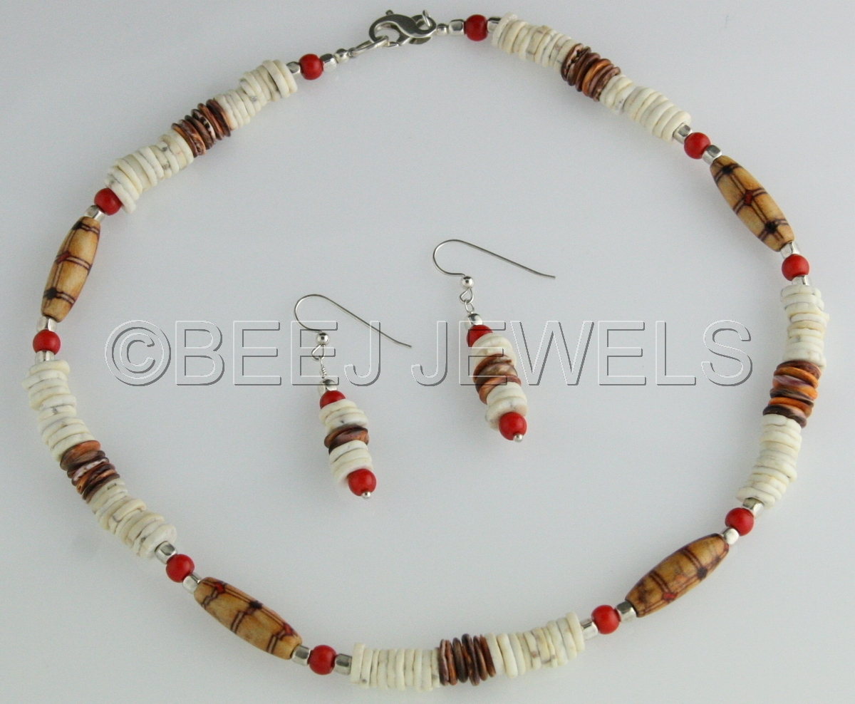 Red Coral Wood Bead & Ostrich Necklace - ALSAFI (large view)
