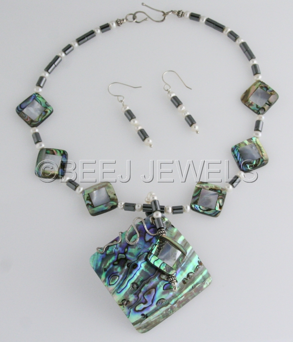 Abalone Mother of Pearl Pendant Necklace - ALNITAK (large view)