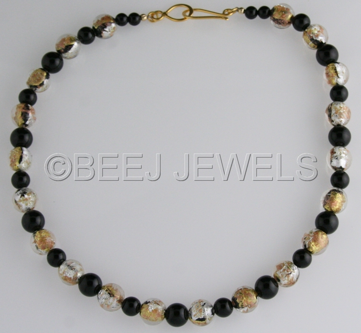 Gold, Silver, Black and Copper Foil Lampwork Beads With Black Onyx Necklace_ALSHAT (large view)