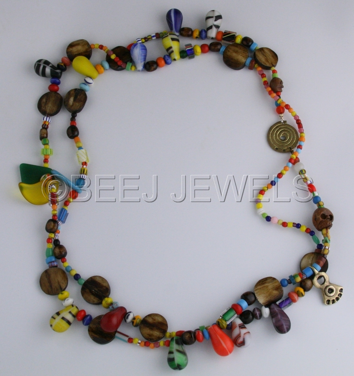 Colorful African Glass Wedding and African Trade Beads with Brass and Bone and Wood Skulls Necklace - ALDHIBAH2 (large view)