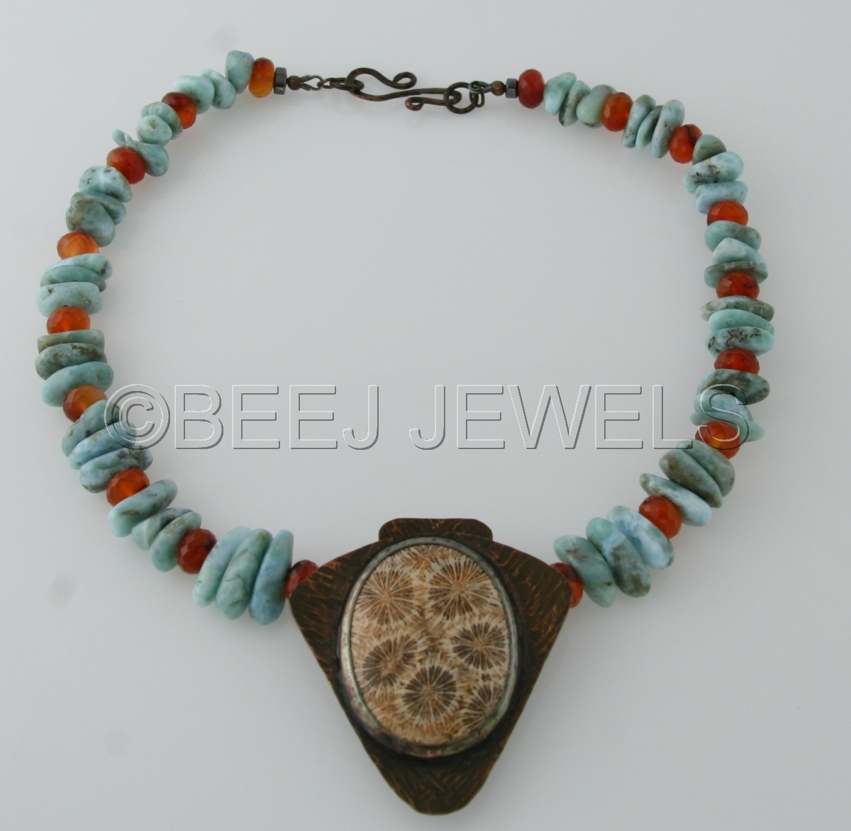 Hand Fabricated Patina Copper Fossil Coral Pendant with Caribbean Blue Larimar and Carnelian Necklace  - DENEB ALGEDI  (large view)
