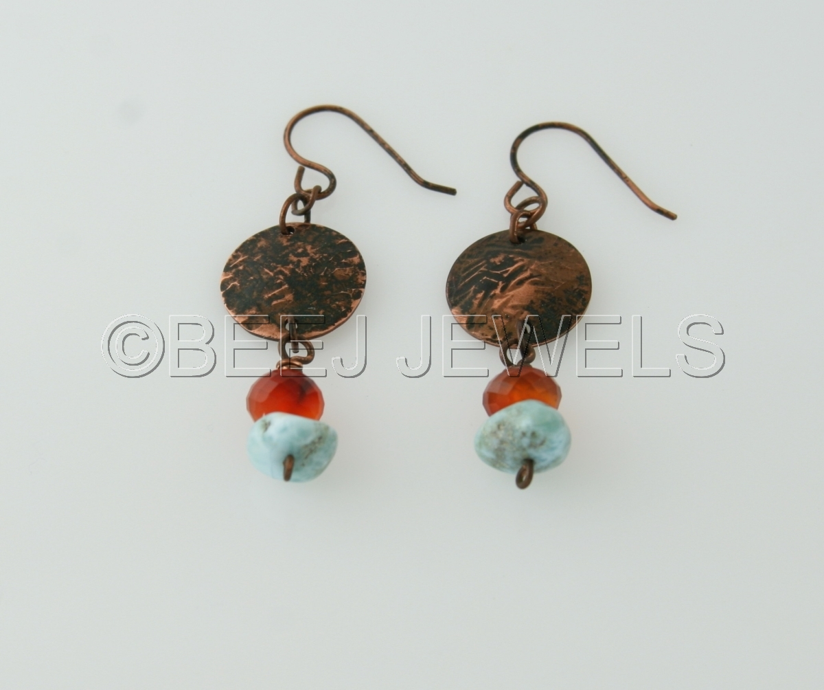 Hand Fabricated Patina Copper with Carribean Blue Larimar and Carnelian Earrings - DENEB ALGEDI  (large view)