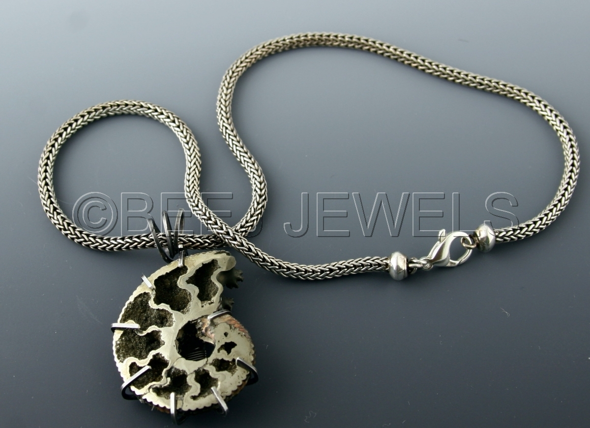 Pyritized Ammonite Pendant Necklace in Wiresmithed Sterling Silver Bezel on Woven Sterling Chain (large view)