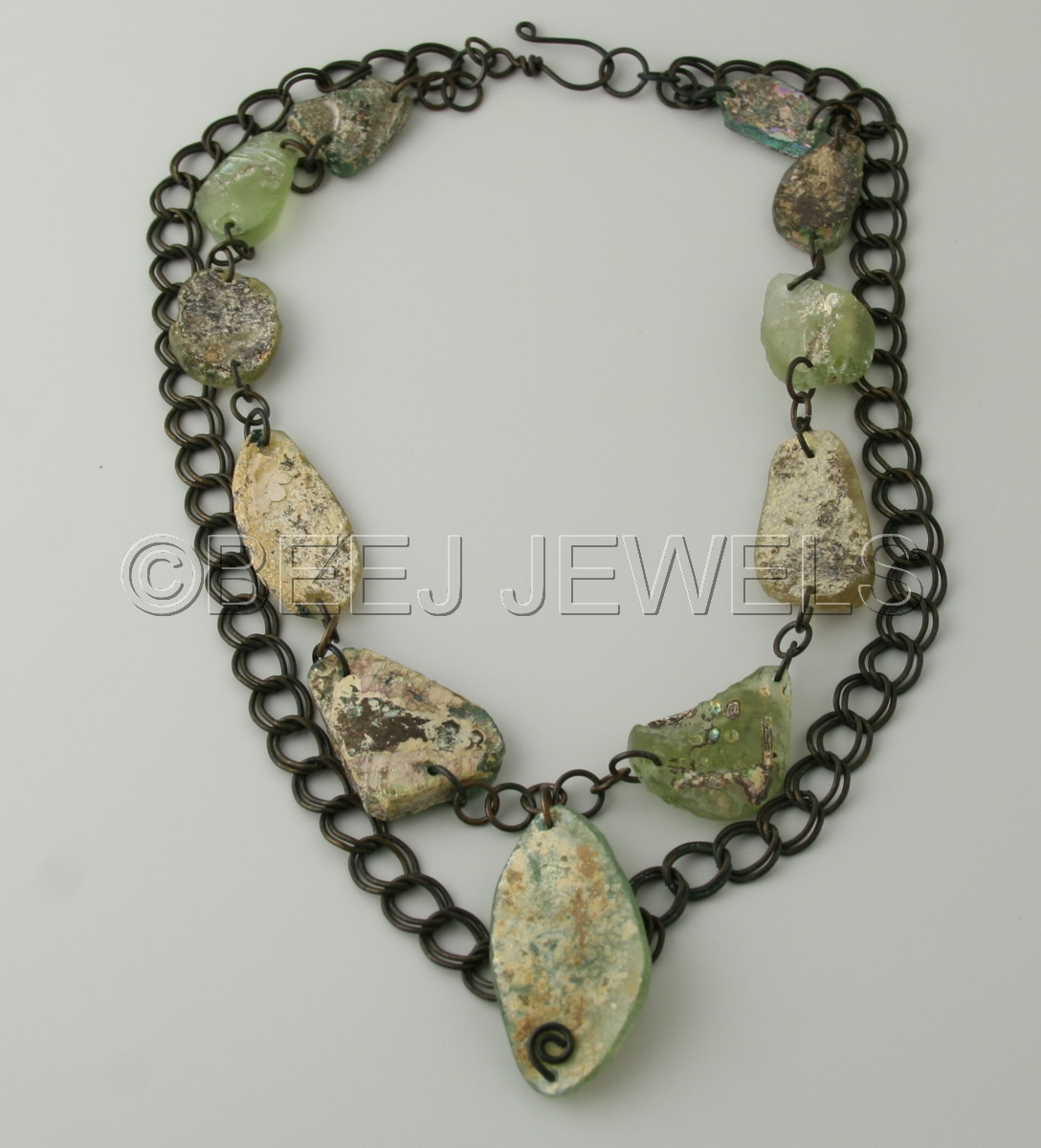 "Ancient Roman Rings jewelry : ""ancient roman glass necklace with antique brass"