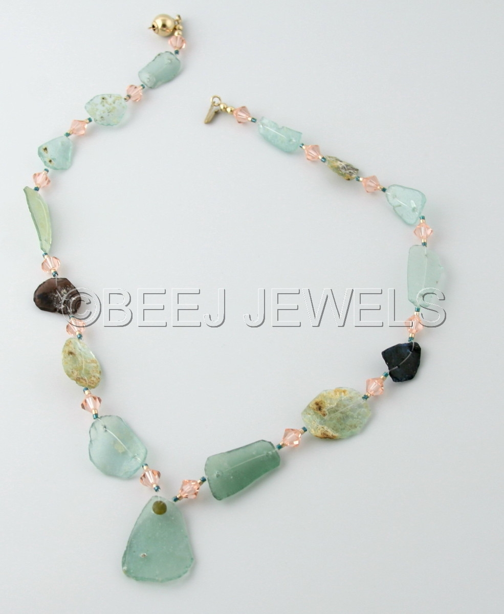 Ancient Roman Glass Necklace with Swarovski Peach Bicone Crystals and Delica Seed Beads - ENIF (large view)