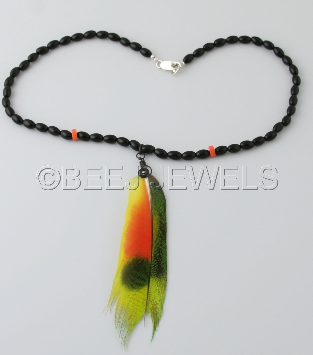 Amazon Parrot Wing Feather Necklace with Onyx Black Glass Beads Accented with Bamboo Coral - FORNACIS (large view)