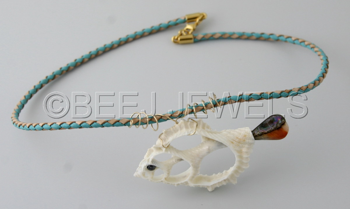 Sliced Strombus Canarium Shell Fish Pendant Hangs from Braided Leather Bolo Cord with YGF wire - GIANFAR (large view)