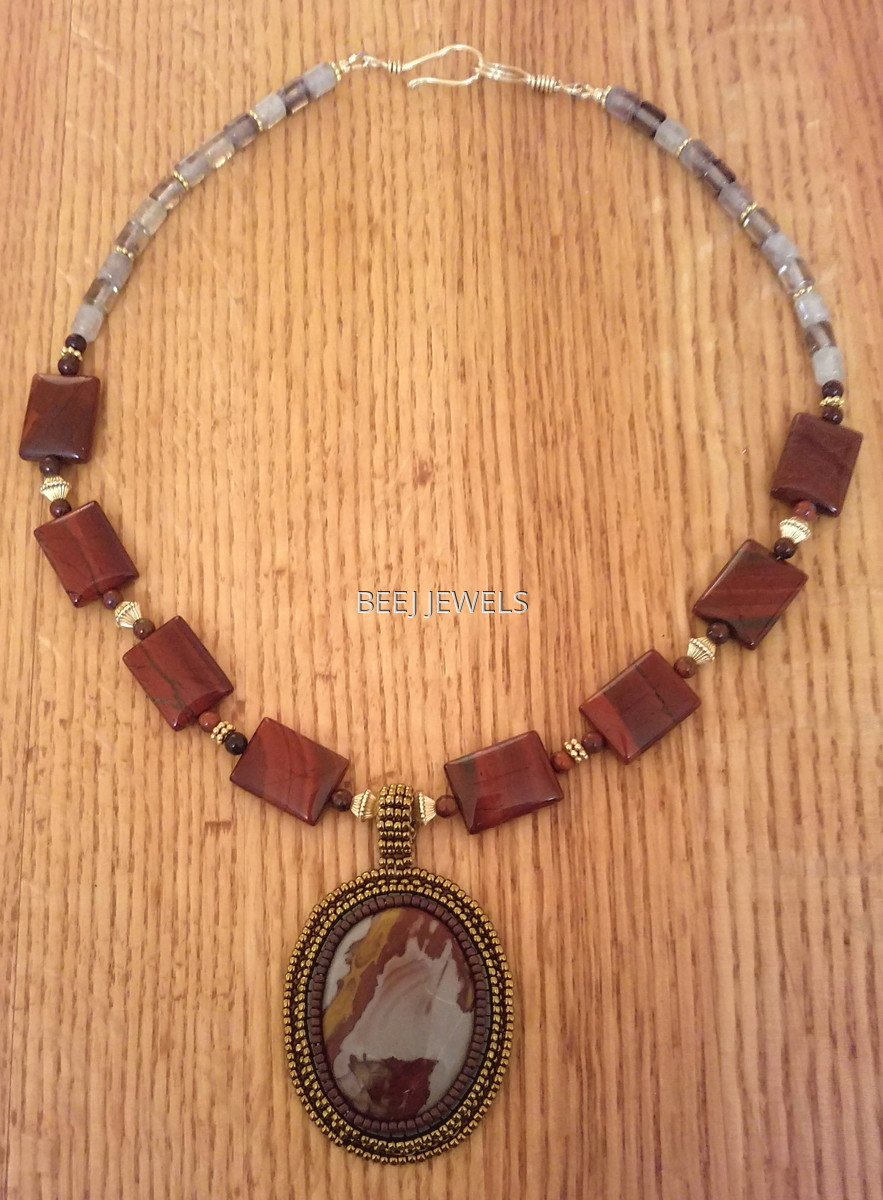 Hand Beaded Jasper Cabochon Pendant with Apple Jasper & Green Moss Quartz Stones - GOMEISA (large view)