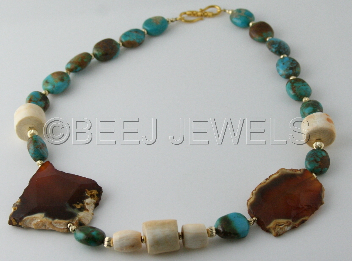 Carnelian Coral Turquoise Necklace - BEID (large view)