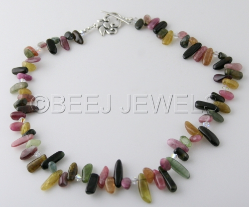 Watermelon Tourmaline Rainbow Necklace - COR CAROLI