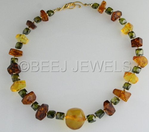 Baltic Amber Palace Green Crystal Necklace - ALZIRR by BEEJ JEWELS
