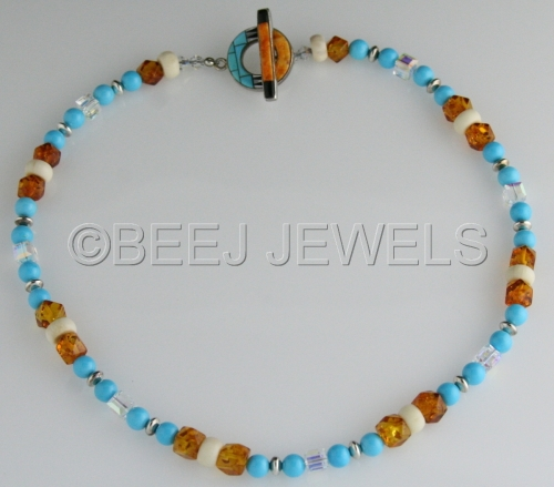 Sleeping Beauty Turquoise Baltic Amber Natural Horn Necklace - ADARA