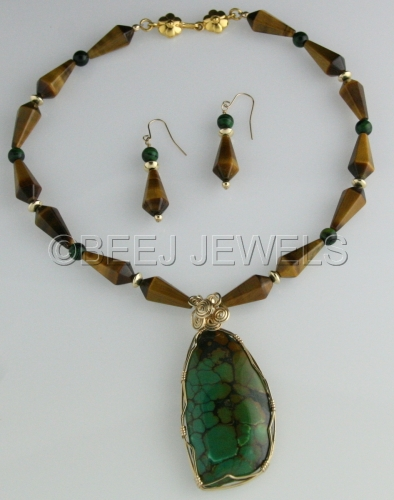 Chinese Opal Pendant & Tiger Eye Necklace - ANSER