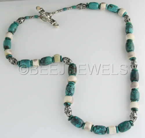Turquoise Sterling Silver Necklace - ADHAFERA